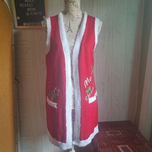 Holiday Time duster vest ugly Christmas sweater SM